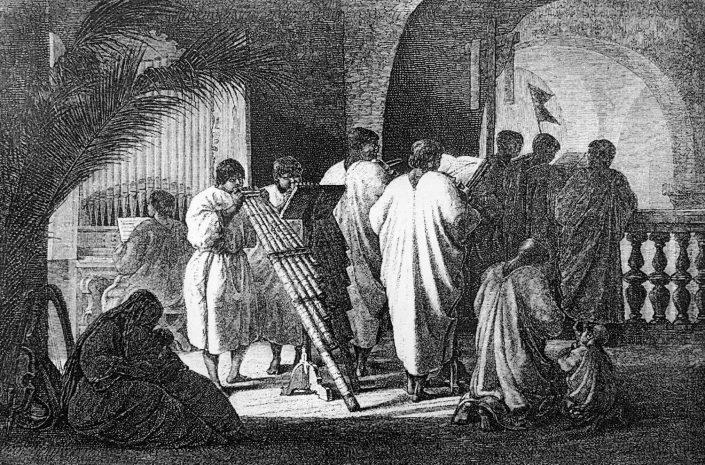 """[Foto 02. """"Misa cantada en la antigua Misión de Trinidad (Mamoré)"""". Lámina original de Franz Keller-Leuzinger]"""